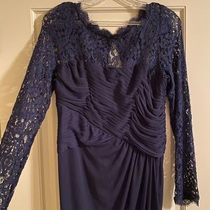 Adrianna Papell Long Sleeve Navy Blue Gown